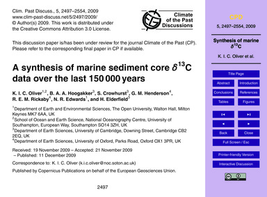 A Synthesis of Marine Sediment Core Δ13C... by Oliver, K. I. C.