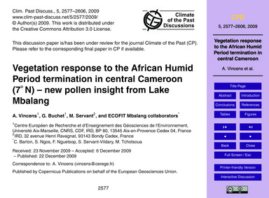 Vegetation Response to the African Humid... by Vincens, A.