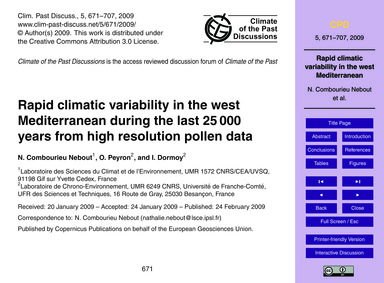 Rapid Climatic Variability in the West M... by Combourieu Nebout, N.