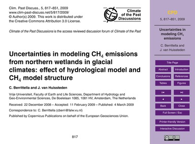 Uncertainties in Modeling Ch4 Emissions ... by Berrittella, C.