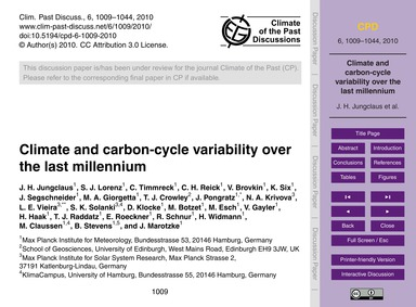 Climate and Carbon-cycle Variability Ove... by Jungclaus, J. H.