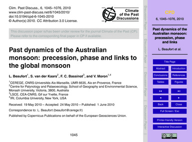 Past Dynamics of the Australian Monsoon:... by Beaufort, L.