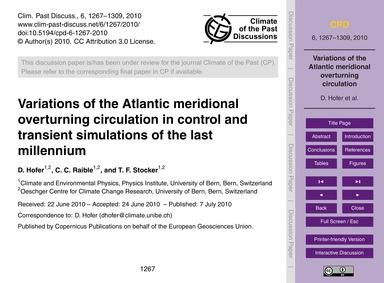 Variations of the Atlantic Meridional Ov... by Hofer, D.