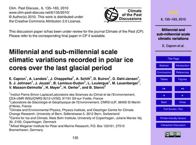 Millennial and Sub-millennial Scale Clim... by Capron, E.