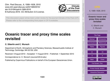 Oceanic Tracer and Proxy Time Scales Rev... by Siberlin, C.