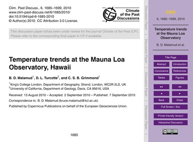 Temperature Trends at the Mauna Loa Obse... by Malamud, B. D.
