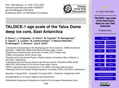 Taldice-1 Age Scale of the Talos Dome De... by Buiron, D.