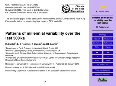Patterns of Millennial Variability Over ... by Siddall, M.