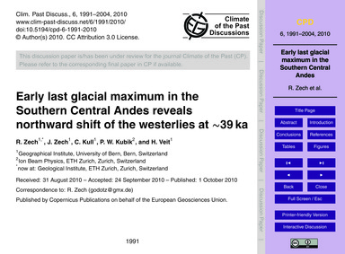 Early Last Glacial Maximum in the Southe... by Zech, R.