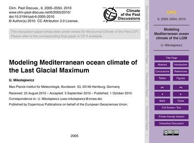 Modeling Mediterranean Ocean Climate of ... by Mikolajewicz, U.