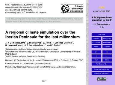 A Regional Climate Simulation Over the I... by Gómez-navarro, J. J.