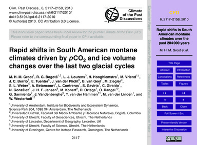 Rapid Shifts in South American Montane C... by Groot, M. H. M.