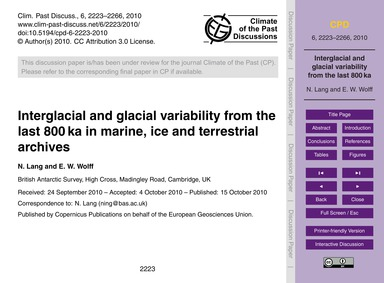 Interglacial and Glacial Variability fro... by Lang, N.