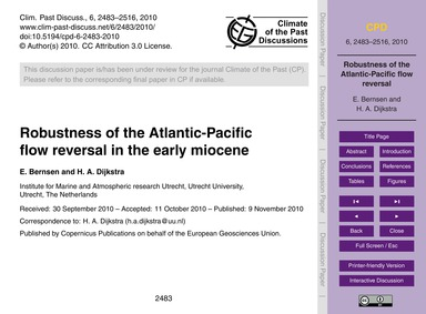 Robustness of the Atlantic-pacific Flow ... by Bernsen, E.