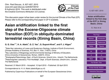 Asian Aridification Linked to the First ... by Xiao, G. Q.