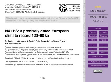 Nalps: a Precisely Dated European Climat... by Boch, R.