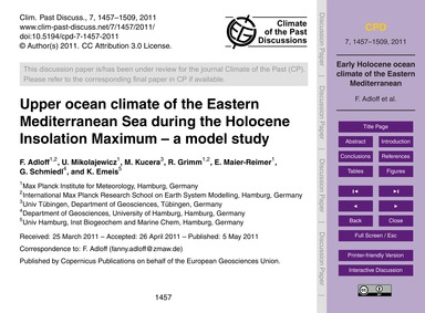 Upper Ocean Climate of the Eastern Medit... by Adloff, F.