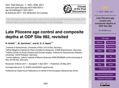 Late Pliocene Age Control and Composite ... by Khélifi, N.