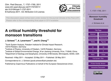 A Critical Humidity Threshold for Monsoo... by Schewe, J.
