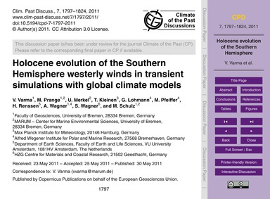 Holocene Evolution of the Southern Hemis... by Varma, V.