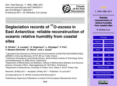 Deglaciation Records of 17O-Excess in Ea... by Winkler, R.