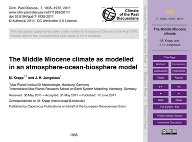 The Middle Miocene Climate as Modelled i... by Krapp, M.
