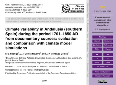Climate Variability in Andalusia (Southe... by Rodrigo, F. S.