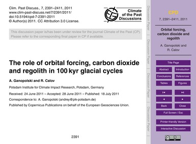 The Role of Orbital Forcing, Carbon Diox... by Ganopolski, A.