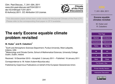 The Early Eocene Equable Climate Problem... by Huber, M.