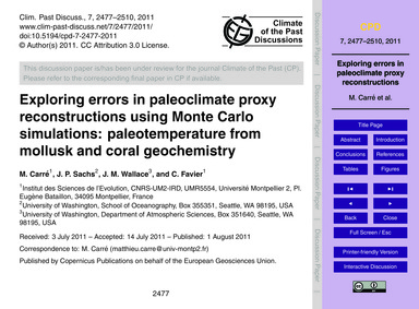 Exploring Errors in Paleoclimate Proxy R... by Carré, M.
