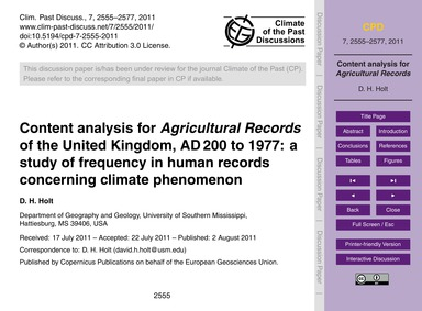 Content Analysis for Agricultural Record... by Holt, D. H.