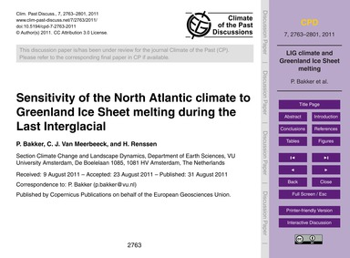 Sensitivity of the North Atlantic Climat... by Bakker, P.