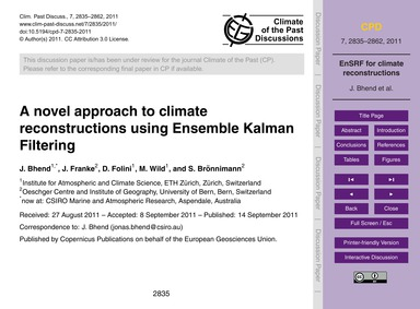 A Novel Approach to Climate Reconstructi... by Bhend, J.
