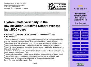 Hydroclimate Variability in the Low-elev... by Gayo, E. M.