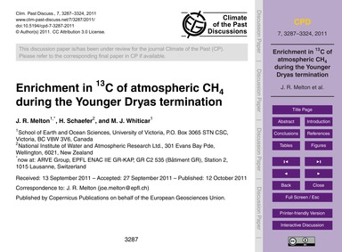 Enrichment in 13C of Atmospheric Ch4 Dur... by Melton, J. R.