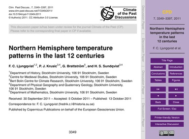 Northern Hemisphere Temperature Patterns... by Ljungqvist, F. C.