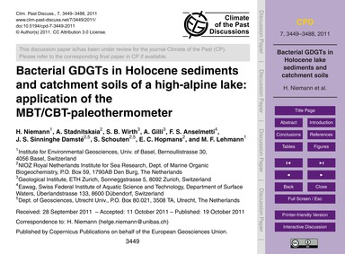 Bacterial Gdgts in Holocene Sediments an... by Niemann, H.