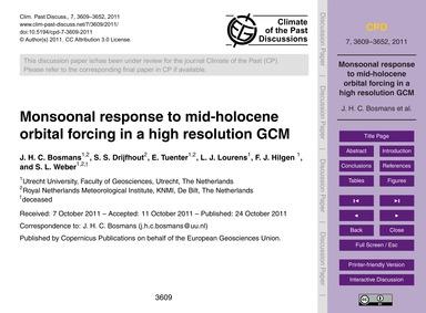 Monsoonal Response to Mid-holocene Orbit... by Bosmans, J. H. C.