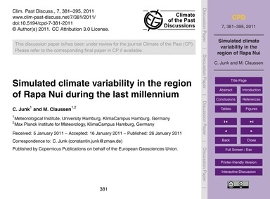 Simulated Climate Variability in the Reg... by Junk, C.