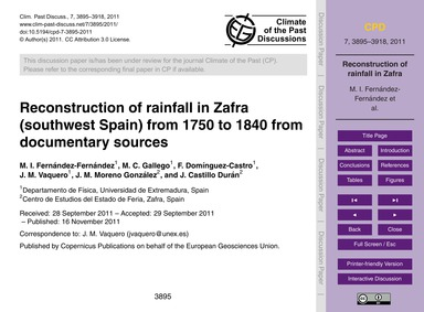 Reconstruction of Rainfall in Zafra (Sou... by Fernández-fernández, M. I.