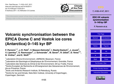 Volcanic Synchronisation Between the Epi... by Parrenin, F.