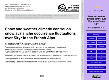 Snow and Weather Climatic Control on Sno... by Castebrunet, H.