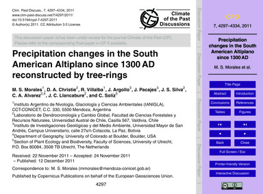Precipitation Changes in the South Ameri... by Morales, M. S.