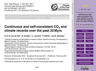 Continuous and Self-consistent Co2 and C... by Van De Wal, R. S. W.