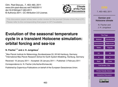 Evolution of the Seasonal Temperature Cy... by Fischer, N.
