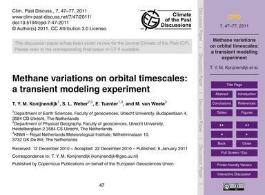 Methane Variations on Orbital Timescales... by Konijnendijk, T. Y. M.