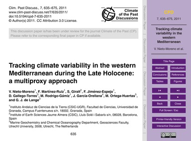 Tracking Climate Variability in the West... by Nieto-moreno, V.