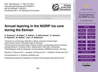 Annual Layering in the Ngrip Ice Core Du... by Svensson, A.