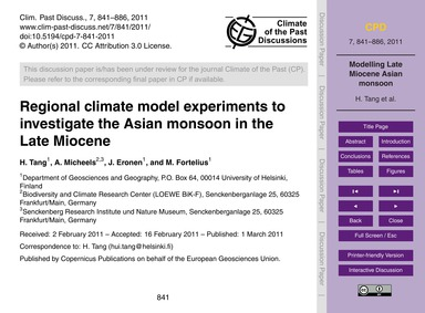 Regional Climate Model Experiments to In... by Tang, H.