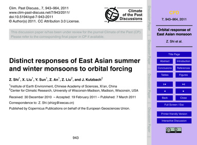 Distinct Responses of East Asian Summer ... by Shi, Z.